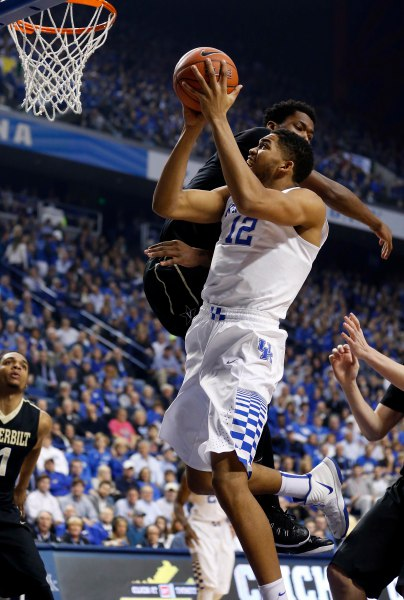 Jan 20, 2015; Lexington, KY, USA; Kentucky Wildcats forward Karl-Anthony Towns (12) shoots the ball against the Vanderbilt Commodores at Rupp Arena. Mandatory Credit: Mark Zerof-USA TODAY Sports
