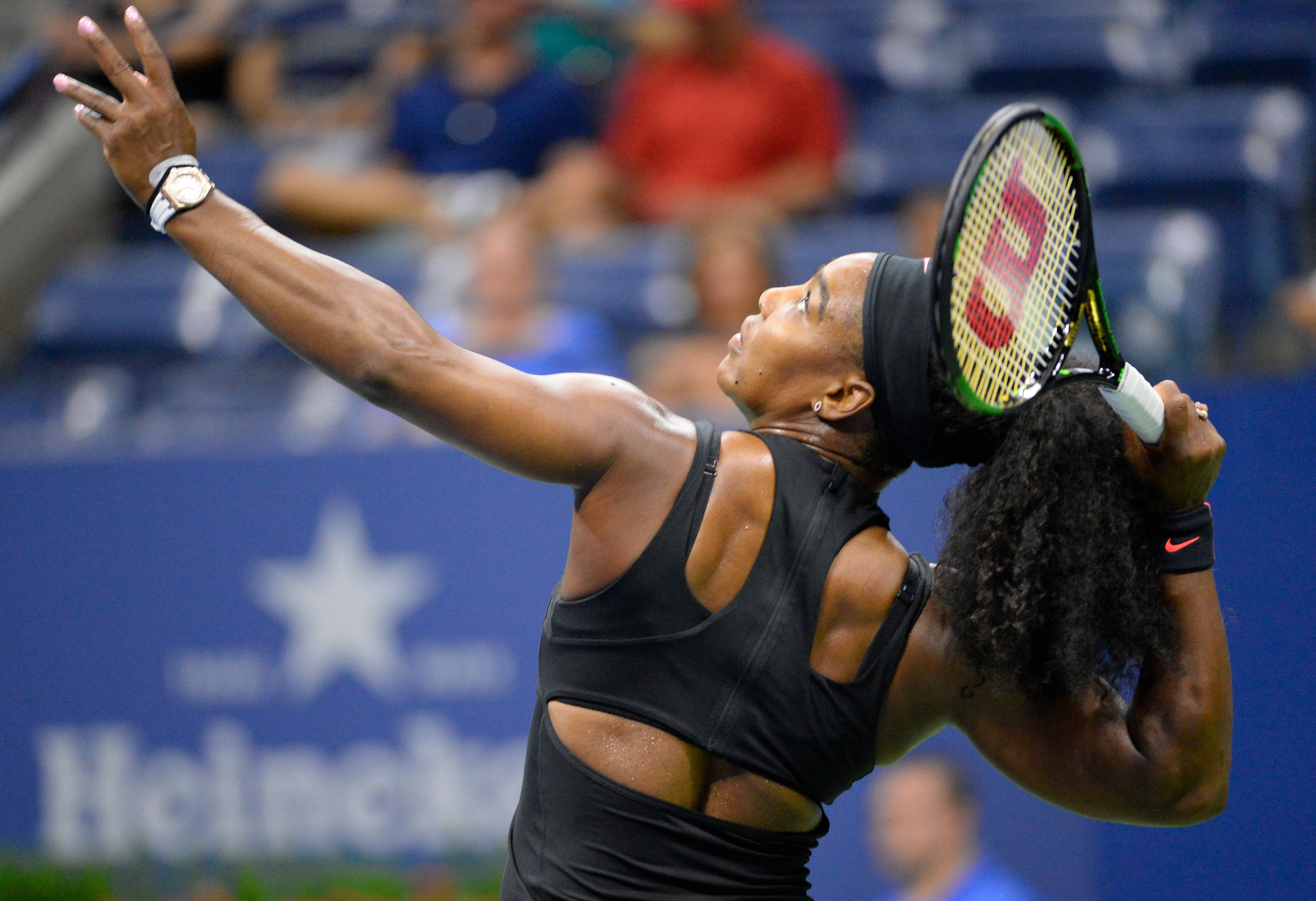 Aug 31, 2015; New York, NY, USA; Serena Williams of the United States serves to Vitalia Diatchenko of Russia on day one of the 2015 US Open tennis tournament at USTA Billie Jean King National Tennis Center. Mandatory Credit: Robert Deutsch-USA TODAY Sports