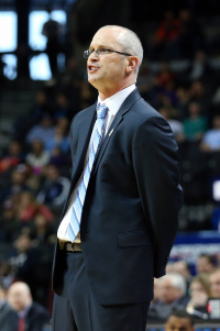 Mar 14, 2015; Brooklyn, NY, USA; Rhode Island Rams head coach Dan Hurley during the first half against the Dayton Flyers in the semifinals of the Atlantic 10 Conference Tournament at Barclays Center. Mandatory Credit: Anthony Gruppuso-USA TODAY Sports