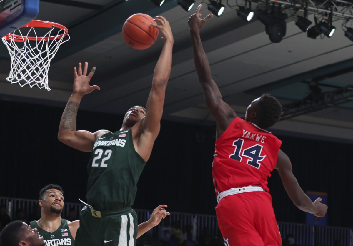 Miles Bridges (22) is the most dynamic athlete for the Spartans. (Photo courtesy of zagsblog.com)