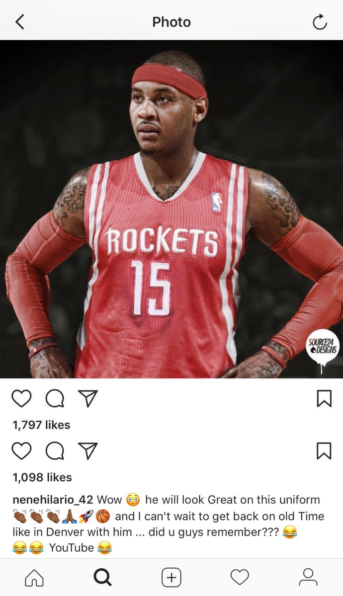 a3f680f6f249 The Carmelo Anthony-to-the-Houston-Rockets story continues to gain momentum  after Nene posted a picture to social media of Anthony in a Houston uniform  on ...